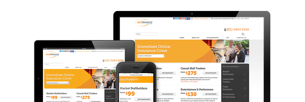 NetinsureResponsive Website with Online Payment and Business Automation