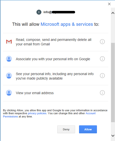 Google Allow Access for Microsoft